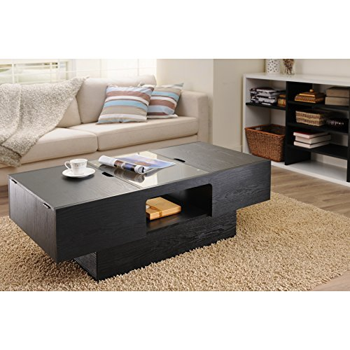 Moyle Rectangle Coffee Table with Lift Up Storage Compartment Made w/ Manufactured Wood and Glass in Black Finish 16.9'' H x 47.2'' W x 24.1'' D in. from Brayden Studio