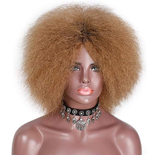 - Stamped Glorious Light Brown Afro Wig for Black Women Short Synthetic Puff Hair Wigs High Temperature Heat Resistant Fiber Fluffy Yaki Wig for Women(Light Brown-27#)
