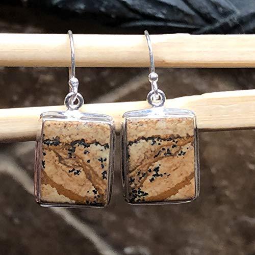 Natural Owyhee Picture Jasper/Desert Mountains Picture Jasper 925 Solid Sterling Silver Dangle Earrings 30mm Long