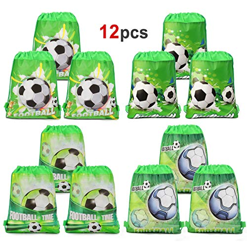 Soccer Party Bags (Konsait 12PCS Football Party Bags Drawstring Bags Football Backpack, Kids Birthday Party Supplies, Gift Treat Pouch, Football Party Favors Goodie Bags for Children Girls Boys)