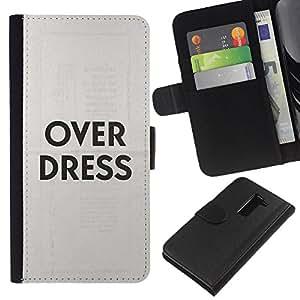 LG G2 / D800 / D802 / D803 / VS980 Modelo colorido cuero carpeta tirón caso cubierta piel Holster Funda protección - Over Dress Fashion Clothes Grey Text
