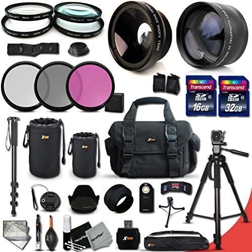 Canon EOS Rebel T6S ACCESSORIES Kit Includes: 58mm High Definition 2X Telephoto Lens + 58mm High Definition Wide Angle Lens + 32GB High Speed Memory Card + 16GB High Speed Memory Card (Total of 48GB) + Full Size Pro Series 72 Inch Tripod + Large Well Padd by Xtech