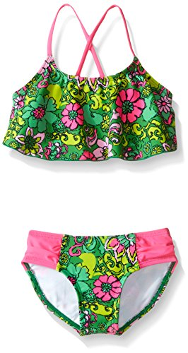 Kanu Surf Baby Girls' Karlie Flower Flounce Bikini Swim Suit, Green, 24 Months