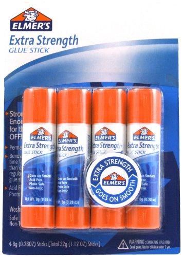 Elmer's Extra Strength Office Glue Sticks, 0.28 oz Each, 4 Sticks per Pack (E5010)