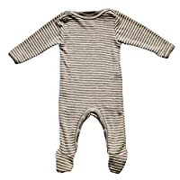 Baby Footed Romper Overall w/ Long Sleeves, Organic Merino Wool and Silk (62-...