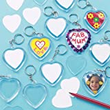 Heart Craft Keyring Blanks for Kids to Decorate as a Gift for Mother's Day or Valentines (Pack of 6)