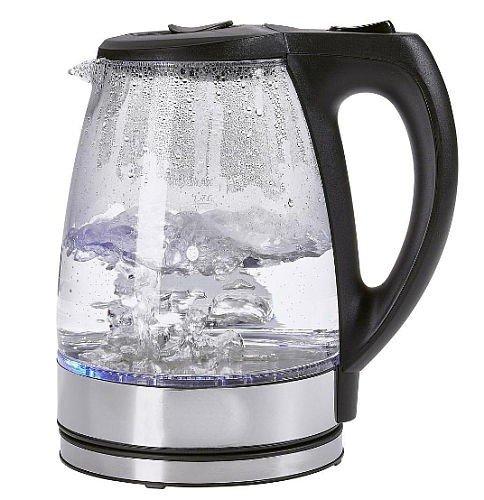 Glas Wasserkocher kabellos 1,7 Liter 2200 Watt Tee Kessel in Schwarz und Weiss mit LED Beleuchtung NEU (Glas Edelstahl)