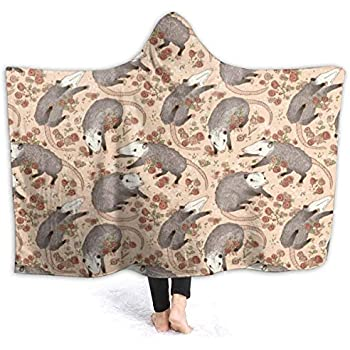 Hoodie Blankets for Adult Child, Keep Warm Soft Throw Wrap Cover for Lounge Couch Reading Watching TV, Befuddled Possums Oversized Wearable Throw Home Blankets