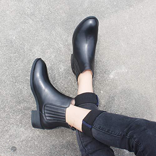 Retro Chaudes D'hiver De Femme Martin Chaussures En Chelsea Bottes Black2 Bottes Plus Velours Plates Pour England IB7Ww