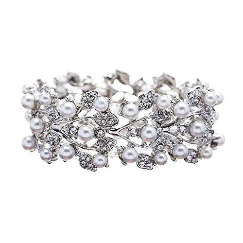 Bella-Vogue Bridal Wedding Jewelry Crystal Rhinestone Pearl Leaf Stretch Bracelet Silver-NO.100 ()