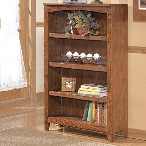 Ashley Furniture Signature Design – Cross Island Medium Office Bookcase – 3 Adjustable Shelves – Casual – Medium Brown Finish
