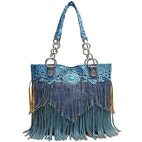 Bag Tote Purple Bag Handbag Fringe turq Western vaxqOpw8