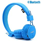 S-Star Economic Bluetooth Wireless Headphones with Radio,TF Card Mp3 Player,3.5mm AUX Cable,SharePort and App,Compatible with iPad for Indoor and Ourdoors-Beach,Gym,Camping,Travel and Party.-Blue