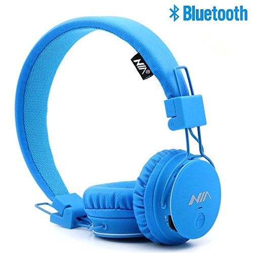 S-Star Economic Bluetooth Wireless Headphones with Radio,TF Card Mp3 Player,3.5mm AUX Cable,SharePort and App,Compatible with iPad for Indoor and Ourdoors-Beach,Gym,Camping,Travel and Party.-Blue -