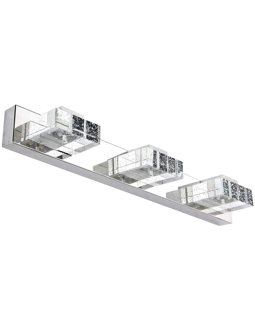 Vanity Lights,SOLFART 3 Head Glass Wall Bathroom Mirror Bath Long LED Vanity Lighting Fixtures (White Light-4500K)