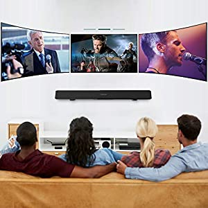TENKER Soundbar, Wired and Wireless Bluetooth 2-Channel Soundbar, Home Theater Speakers for TV (Surround Sound, Remote Control, Wall Mountable) from TENKER