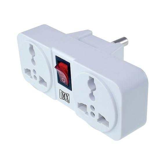MX  3866 3 Pin 2 Way Universal Socket with LED Switch