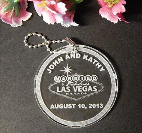 25 Acrylic Las Vegas Key Chain Favors customized with Names and Date of Wedding