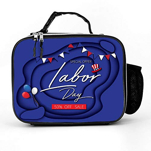 (Welkoom Lunch Bag With Labor Day Sale Promotion Advertising Banner Blue Spacious Insulated School Lunch Box|Durable Thermal Lunch Cooler Pack With Strap For Boys Men Women Girls)