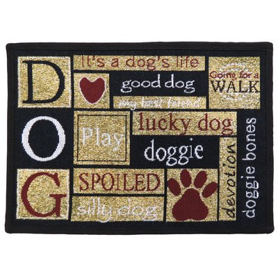 PB PAWS PET COLLECTION BY PARK B. SMITH I Love Dogs Tapestry Indoor Outdoor Pet Mat, Sand/Cinnabar, 13 x 19