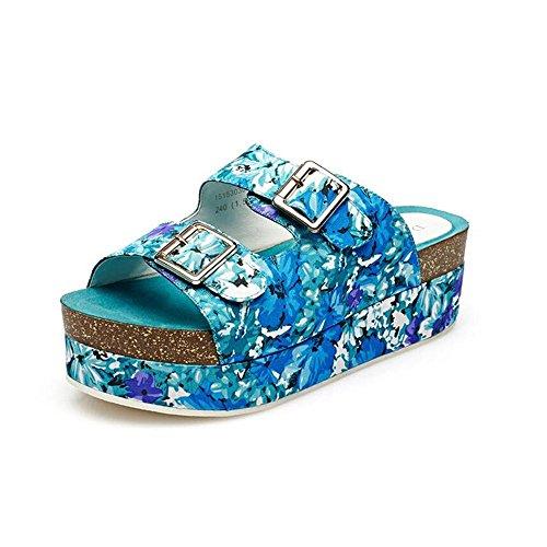 Heart&M Nueva marca de fábrica plana punta abierta del tacón alto de las mujeres Sole con la plataforma hebillas zapatillas sandalias botas frescas Blue