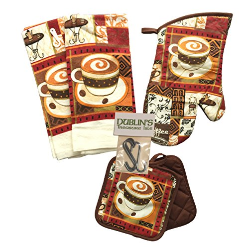Kitchen Linen Set (Includes: one oven mitt, two pot holders and two dish towels) (Coffee (Cup Kitchen Towel)