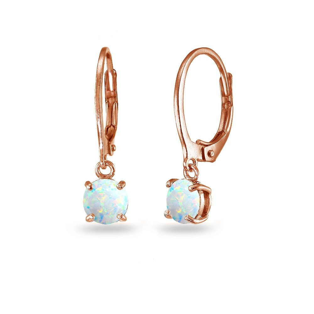 LOVVE Rose Gold Flashed Sterling Silver Created White Opal 6mm Round Dangle Leverback Earrings