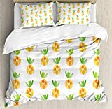 Pineapple Decor Duvet Cover Set Queen Size by Ambesonne, Pattern with Pineapples Health Snack Harvest Season Watercolor Painting Effect, Decorative 3 Piece Bedding Set with 2 Pillow Shams