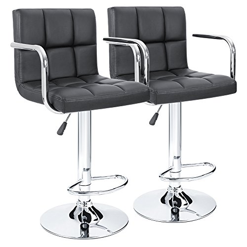 Stool Living Bar Set Room (Furmax Black Leather Bar Stools Counter Height Modern Adjustable Synthetic Leather Swivel Bar Stool,Set of 2 (Black/Armrest))