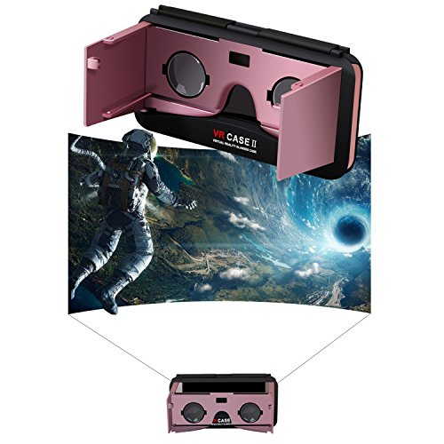 Concise 3D VR Glasses, Tsanglight 3-in-1 3D Virtual Reality + Flip Phone Case/Holder VR Hybrid Case for Apple iPhone 6S Plus / 6 Plus [5.5-inch] - Rose Gold