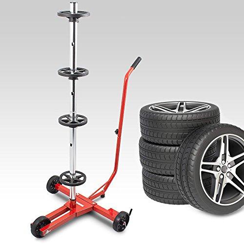 BITUXX® Stabiler fahrbarer Felgenbaum Reifenwagen Felgenständer Reifenständer Radwagen bis 355mm