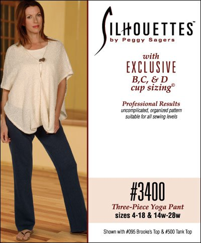 - Patterns - Silhouettes #3400 Three Piece Yoga Pant - Sizes 4-18 & 14w-28w