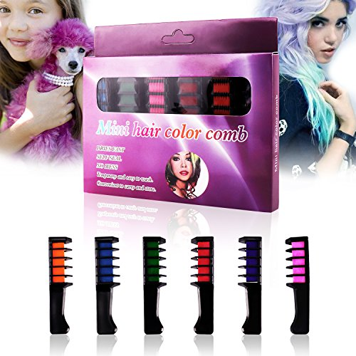 Hair Chalk Comb,Non-Toxic Washable Temporary Bright Hair Chalk Set,Disposable Personal Salon Use Hair Dye Comb,Hair Color Brush Glitter Paint for Adults Kids & Children - Boys & (Best Gray Paint)
