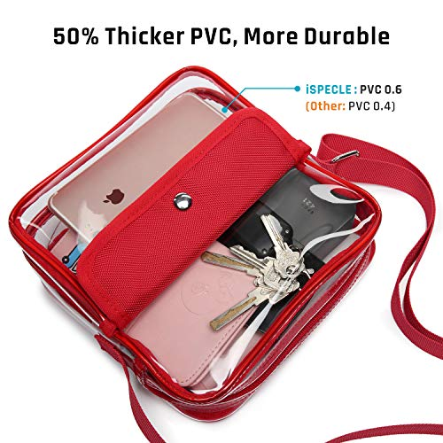 iSPECLE Clear Purse, Clear Stadium Bag Approved for Casino, NFL, PGA, NCAA, Adjustable 4.92ft Shoulder Strap for Women Girl, Red by iSPECLE (Image #3)