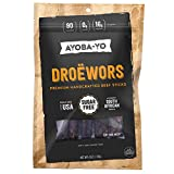 Ayoba-Yo Droewors Beef Sticks. Keto Diet Friendly Air-Dried Sausages. Made With Premium Meat. Gluten Free, Nitrate Nitrite Free, No Sugar. Healthy and Natural Snacks. 4 Ounce