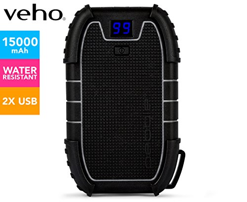 Veho Pebble Endurance Portable Power Bank | Torch | Smartphone and Tablet Charger | 15,000mAh | Rugged | USB-C | LED Digital Display | Battery Pack (VPP-008-E)