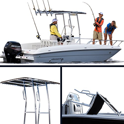 FISHMASTER MARINE TOWERS AND ACCESSORIES Boat T-Top - Twice Folding Patented Design - Fits Center Consoles/Inflatable Boats - OE Direct (Burgundy)