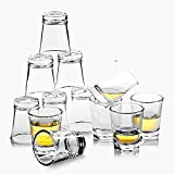 REATR 1.5 oz Shot Glass Set of 12 Food Safe Grade Tequila Shot Glasses with Cleaning Cloth Drinking Glassware Clear Shot Glasses Thick for Vodka, Rum, Liqueur, Spirit, Alcohol Small Shooter Glass Cup