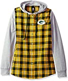 NFL Green Bay Packers Womens NFL Women's Lightweight Flannel Hooded Jacket, Medium