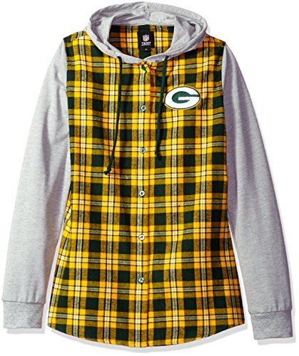 FOCO Green Bay Packers Lightweight Flannel Hooded Jacket - Womens Medium