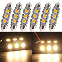 """Everbright 6-Pack Warm White 44MM 1.72"""" 5050 Chipes 12-SMD 211-2 212-2 569 578 LED Festoon Interior Map / Dome Dome / Trunk / Glove Box Lights LED Lamp (DC-12V)"""