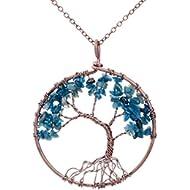 Tree life pendant Amethyst Rose Crystal Necklace Gemstone Chakra Jewelry