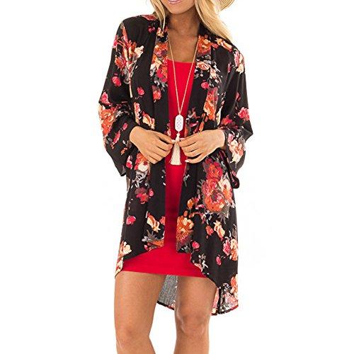 clearance sale!!ZEFOTIM Women Chiffon Loose Shawl Print Kimono Cardigan Top Cover Up Blouse Beachwear (L,Black-1) ()