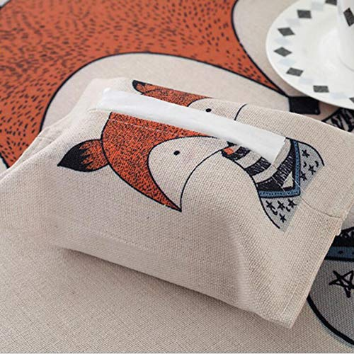 1 Pcs Cartoon Table Napkin Cute Forest Animal Print Tissue Box Covers Home Kitchen Living Room Paper Organizer