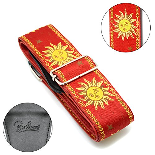 BestSounds Guitar Strap Genuine Leather Ends- Sun Jacquard Weave Strap For Bass Electric & Acoustic Guitars (Red)