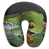 DMN U-Shaped Neck Pillow Frog Mirror Pillows Soft Portable for Travel Reading Sleeping