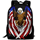 OIlXKV America USA Flag With Eagle Print Custom Casual School Bag Backpack Multipurpose Travel Daypack For Adult