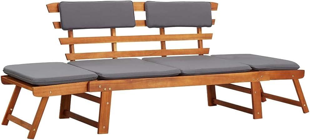 vidaXL Madera Maciza Acacia Sofá Cama de Jardín 2 en 1 con Cojín Patio Robusto Resistente Funcional Práctico Diseño Moderno Versátil Cómodo 190cm: Amazon.es: Hogar