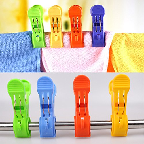 Daixers 12pcs 4.7'' Durable Large Beach Towel Clips Plastic Clothespins Clothes Pegs Pins Clothes Hanger Clamp by Daixers (Image #4)
