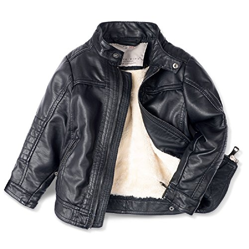 LJYH Boys Leather Jacket New Spring Children's Collar Motorcycle Faux Leather Zipper - Kids Leather Jacket Motorcycle